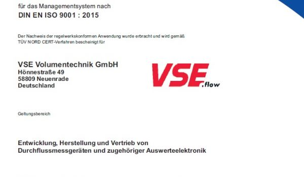 VSE now complies with new quality management system DIN EN ISO 9001:2015